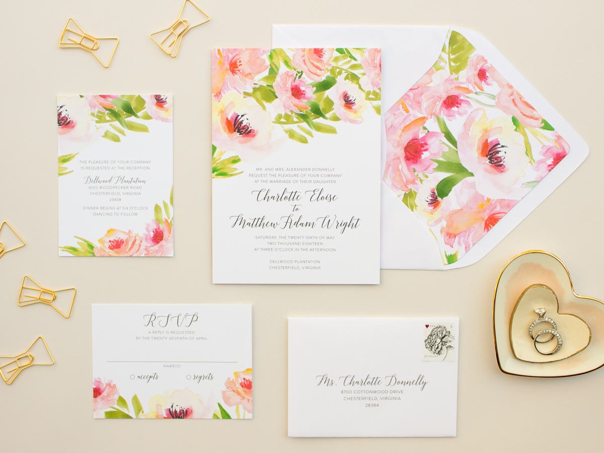 svatební oznámení watercolor