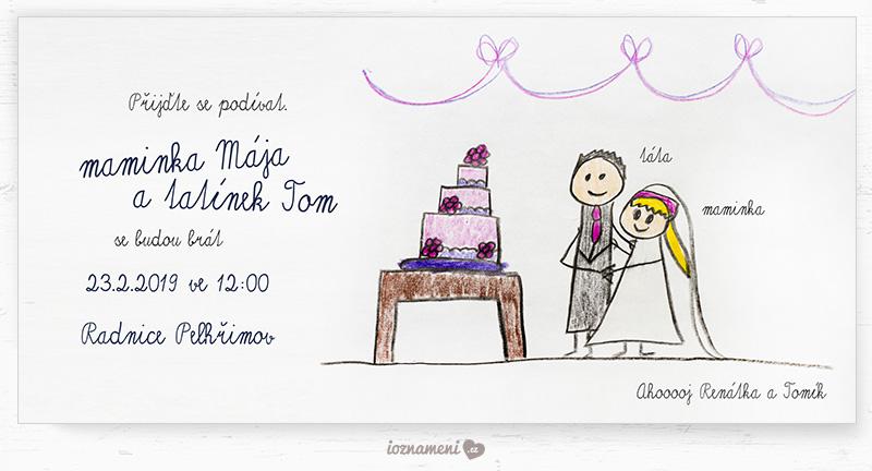 kreslené rodinné svatební oznámení
