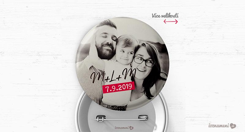 rodinná svatební placka s fotkou