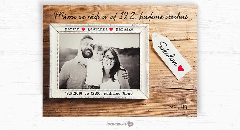 rodinné svatební oznámení fotka