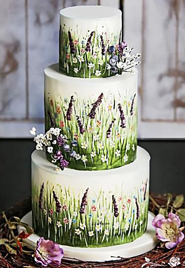 svatební dort bílý luční kvítí