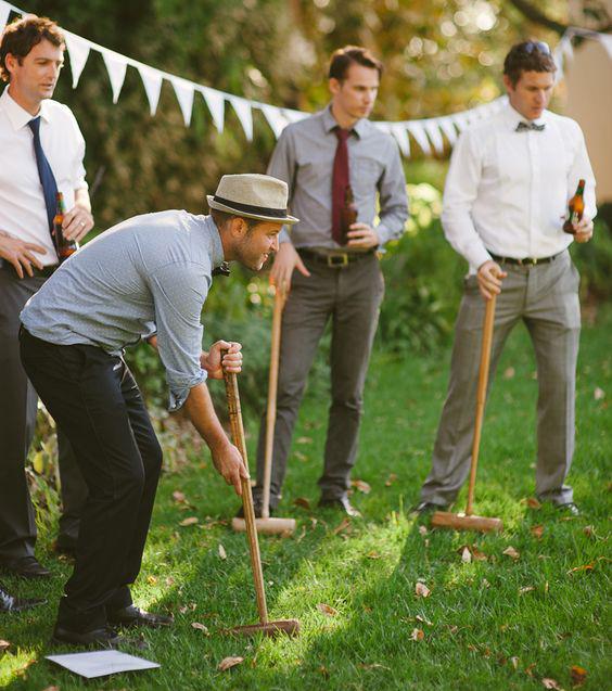 svatba svatební hry muži croquet