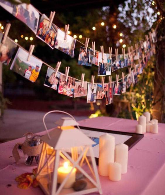 svatba svatební hry výstava fotek šňůra kolíčky